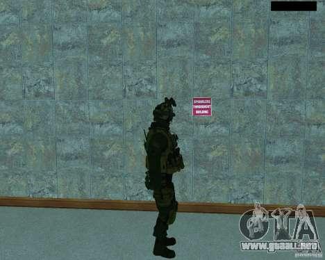 El tercer soldado de la piel Cod MW 2 para GTA San Andreas sucesivamente de pantalla