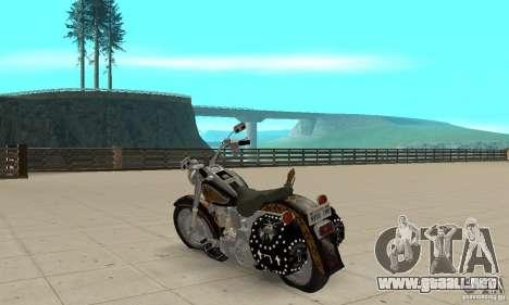 Harley Davidson FLSTF (Fat Boy) v2.0 Skin 5 para GTA San Andreas vista posterior izquierda