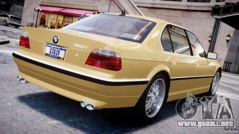 BMW 750i v1.5 para GTA 4 Vista posterior izquierda