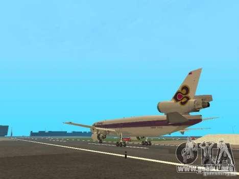 McDonell Douglas  DC 10 Thai Airways para GTA San Andreas vista posterior izquierda