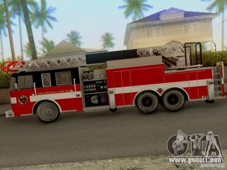 Pierce Firetruck Ladder SA Fire Department para GTA San Andreas vista posterior izquierda
