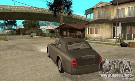 Rolls Royce Coupe 2009 para GTA San Andreas vista posterior izquierda