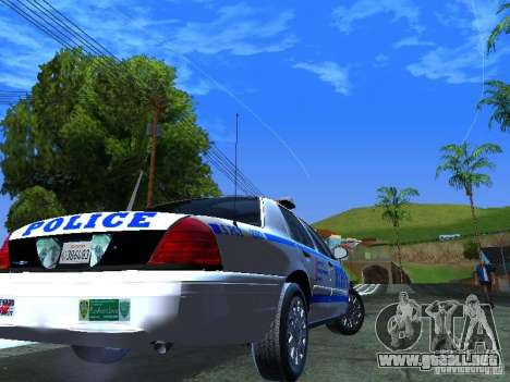 Ford Crown Victoria 2009 New York Police para GTA San Andreas vista posterior izquierda