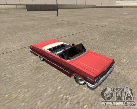 Chevrolet Impala 1963 lowrider para la vista superior GTA San Andreas