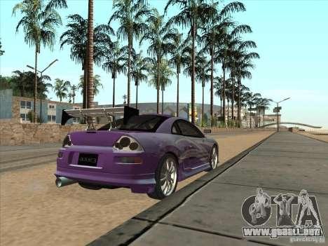 Mitsubishi Eclipse Spyder 2FAST2FURIOUS para GTA San Andreas vista posterior izquierda