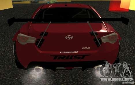 Scion FR-S para GTA San Andreas vista posterior izquierda
