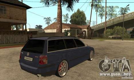 Volkswagen Passat B5.5 2.5TDI 4MOTION para la visión correcta GTA San Andreas