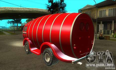 Beer Barrel Truck para GTA San Andreas vista posterior izquierda