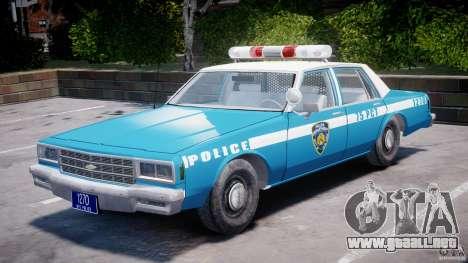 Chevrolet Impala Police 1983 v2.0 para GTA 4 vista interior