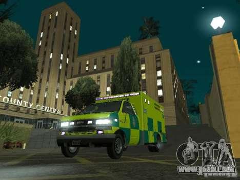 London Ambulance para GTA San Andreas vista hacia atrás
