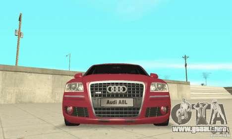 Audi A8L 4.2 FSI para vista inferior GTA San Andreas
