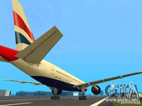 Boeing 777-200 British Airways para la visión correcta GTA San Andreas