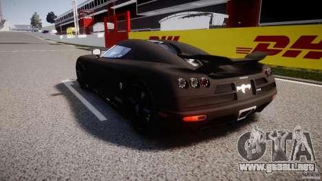 Koenigsegg CCXR Edition para GTA 4 Vista posterior izquierda