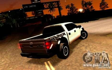 Ford Raptor Crewcab 2012 para GTA San Andreas vista posterior izquierda