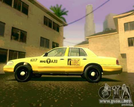 Ford Crown Victoria 2003 NYC TAXI para GTA San Andreas vista posterior izquierda