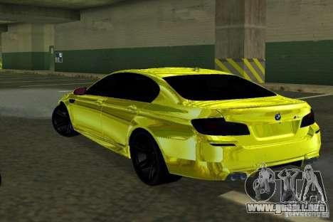 BMW M5 F10 Gold para GTA San Andreas vista posterior izquierda
