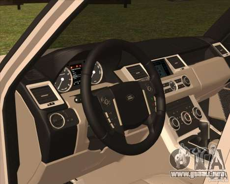 Range Rover Sport 2012 para GTA San Andreas vista hacia atrás
