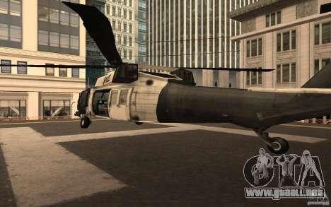 Black Hawk from BO2 para GTA San Andreas vista posterior izquierda
