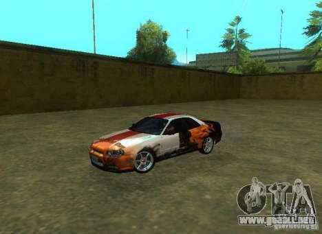 Nissan Skyline GTR-34 para el motor de GTA San Andreas