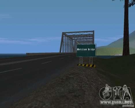 Carretera signos v1.1 para GTA San Andreas sucesivamente de pantalla
