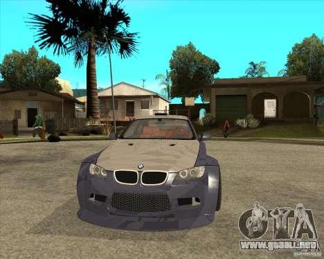 BMW M3 E92 TUNED para GTA San Andreas vista hacia atrás
