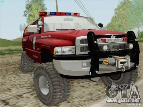 Dodge Ram 3500 Search & Rescue para visión interna GTA San Andreas