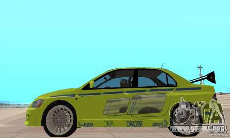 Mitsubishi Lancer Evo The Fast and the Furious 2 para GTA San Andreas vista posterior izquierda