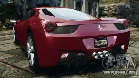 Ferrari 458 Italia 2010 v2.0 para GTA 4 Vista posterior izquierda