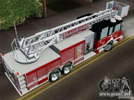 Pierce Rear Mount SFFD Ladder 49 para GTA San Andreas vista hacia atrás