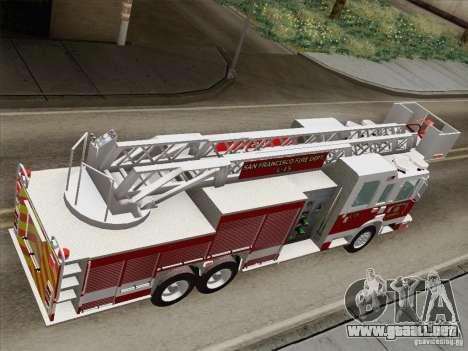 Pierce Aerials Platform. SFFD Ladder 15 para GTA San Andreas vista hacia atrás