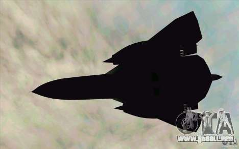 SR-71A BLACKBIRD BETA para GTA San Andreas vista posterior izquierda