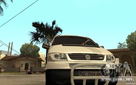 Volkswagen Transporter T4 para GTA San Andreas vista hacia atrás