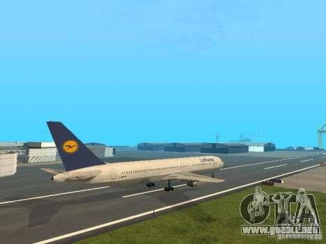 Boeing 767-300 Lufthansa para GTA San Andreas vista posterior izquierda