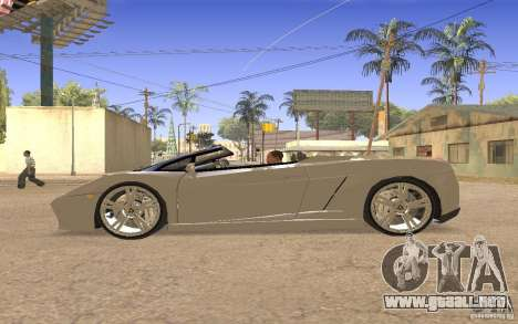 Lamborghini Galardo Spider para GTA San Andreas vista hacia atrás
