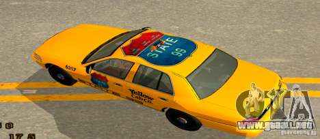 Ford Crown Victoria 2003 Taxi for state 99 para GTA San Andreas vista posterior izquierda