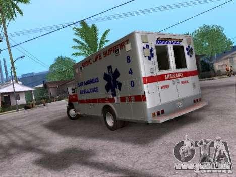 Ford E-350 Ambulance v2.0 para GTA San Andreas vista posterior izquierda