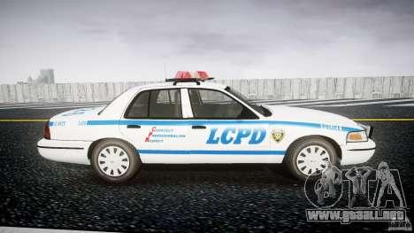 Ford Crown Victoria Police Department 2008 LCPD para GTA 4 vista hacia atrás
