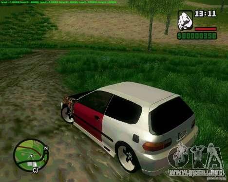 Honda Civic Hellaflush para GTA San Andreas vista posterior izquierda