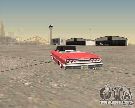 Chevrolet Impala 1963 lowrider para vista inferior GTA San Andreas