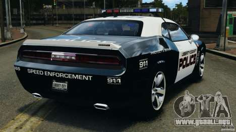 Dodge Challenger SRT8 392 2012 Police [ELS][EPM] para GTA 4 Vista posterior izquierda