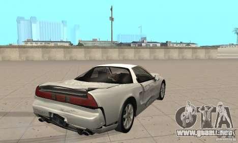 Acura NSX 1991 para vista lateral GTA San Andreas