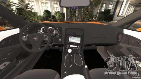 Chevrolet Corvette C6 Grand Sport 2010 para GTA 4 vista hacia atrás