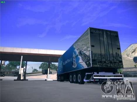 Remolque para el transporte del Scania R620 Duba para la visión correcta GTA San Andreas