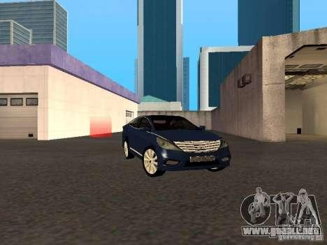 Hyundai Azera 2012 para GTA San Andreas vista posterior izquierda