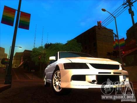 Mitsubishi Lancer Evolution IX MR para visión interna GTA San Andreas