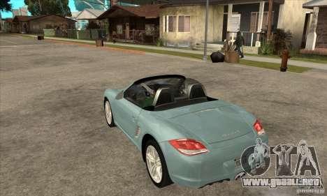 Porsche Boxster S 2010 para GTA San Andreas vista posterior izquierda