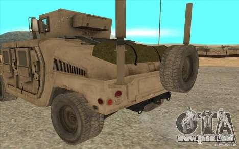 Hummer H1 Military HumVee para GTA San Andreas vista posterior izquierda