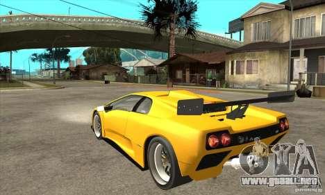 Lamborghini Diablo GT-R 1999 para GTA San Andreas vista posterior izquierda