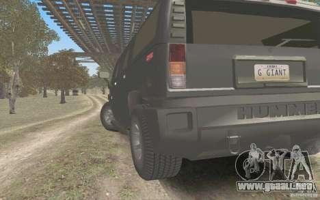 Hummer H2 Stock para GTA San Andreas vista posterior izquierda