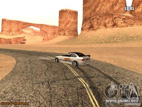 BMW M3 MyGame Drift Team para GTA San Andreas vista hacia atrás